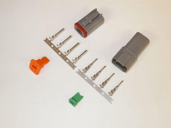 4X Gray Deutsch DT Series Connector Set 14-16-18 STAMPED Nickel Terminals