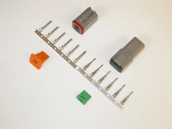 6X Gray Deutsch DT Series Connector Set 14-16-18 STAMPED Nickel Terminals
