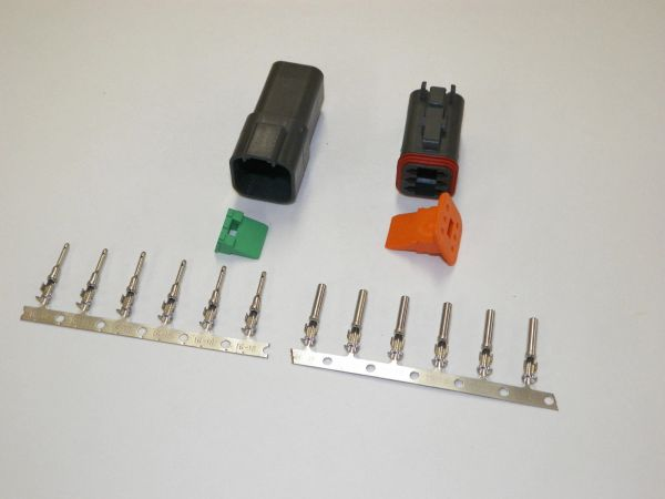 6X Black Deutch DT Series Connector Set 16-18-20 STAMPED Nickel Terminals