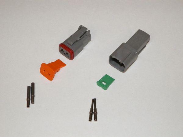 2X Gray Deutch DT Series Connector Set 16-18-20 SOLID Nickel Terminals