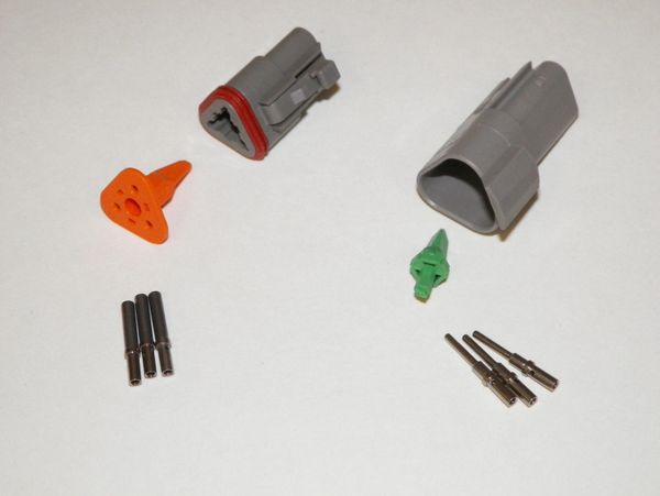 3X Gray Deutch DT Series Connector Set 16-18-20 SOLID Nickel Terminals