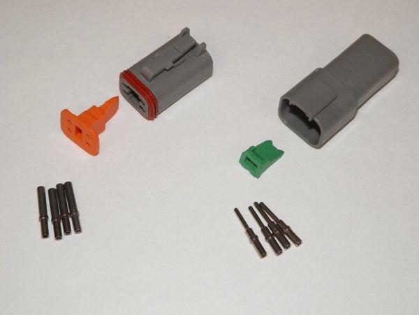 4X Gray Deutch DT Series Connector Set 16-18-20 SOLID Nickel Terminals
