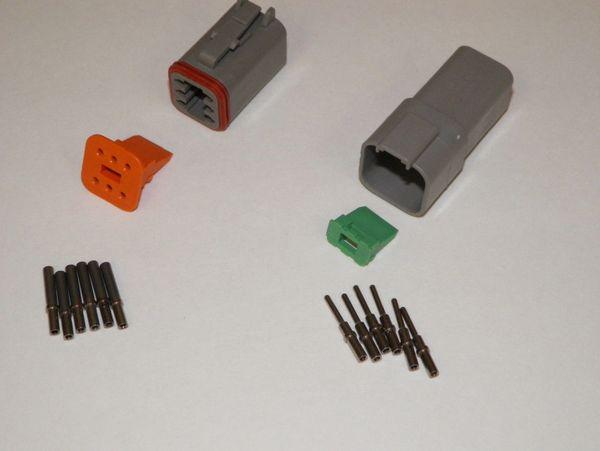 6X Gray Deutch DT Series Connector Set 16-18-20 SOLID Nickel Terminals