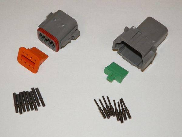 8X Gray Deutch DT Series Connector Set 16-18-20 SOLID Nickel Terminals