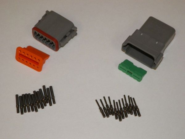 12X Gray Deutch DT Series Connector Set 16-18-20 SOLID Nickel Terminals