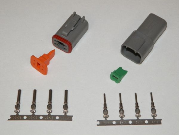 4X Gray Deutch DT Series Connector Set 16-18-20 STAMPED Nickel Terminals