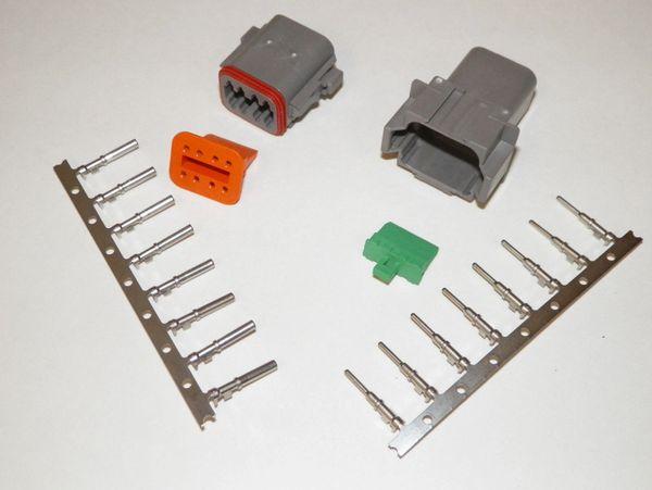 8X Gray Deutch DT Series Connector Set 16-18-20 STAMPED Nickel Terminals