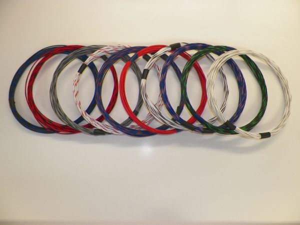 20 gauge TXL wire - 10 STRIPED colors each 25 foot long