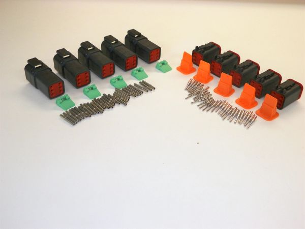 5 sets BLACK Deutsch DT 6-Pin Connectors 16-18 ga AWG Solid Contacts