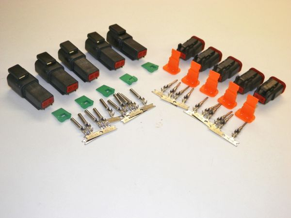 5 sets BLACK Deutsch DT 2-Pin Connectors 16-18 ga AWG Stamped Contacts