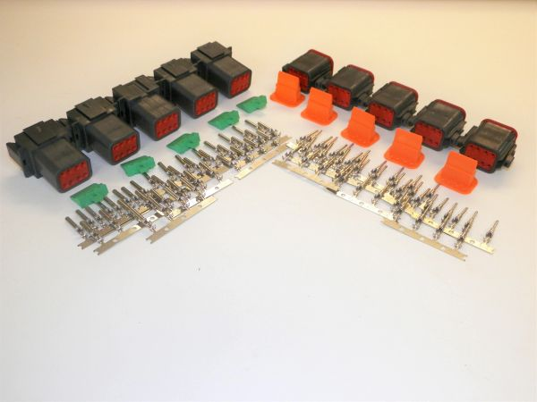 5 sets BLACK Deutsch DT 8-Pin Connectors 16-18 ga AWG Stamped Contacts