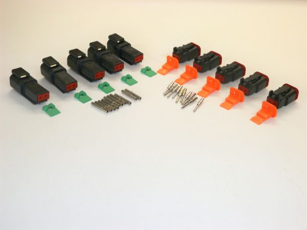 5 sets BLACK Deutsch DT 2-Pin Connectors 16-18 ga AWG Solid Contacts