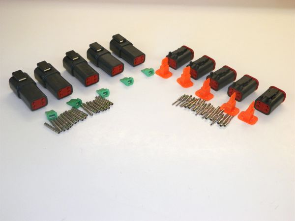 5 sets BLACK Deutsch DT 4-Pin Connectors 14-16-18 ga AWG Solid Contacts