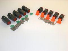 5 sets BLACK Deutsch DT 6-Pin Connectors 14-16-18 ga AWG Solid Contacts