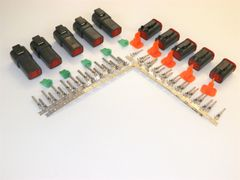 5 sets BLACK Deutsch DT 4-Pin Connectors 14-16 ga AWG Stamped Contacts
