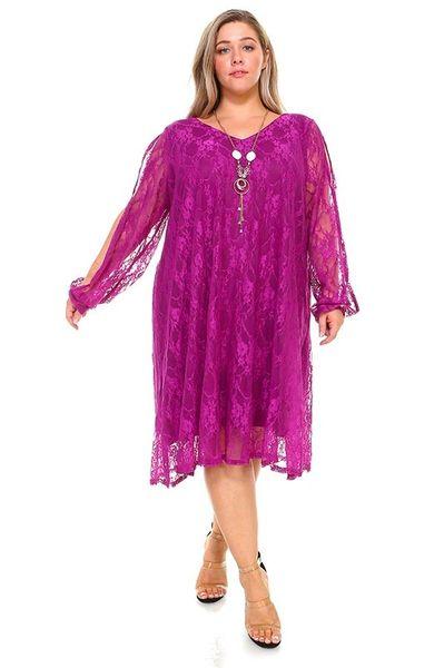 Elegant Lace Open-Sleeve Dress