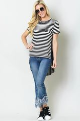Black Stripe Sheer Tee