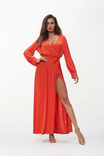 Orange High Slit Faux Wrap Dress