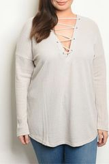 Curvy Dove Lace-Up Front Sweater