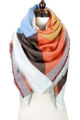 Orange Multi Geometric Blanket Scarf