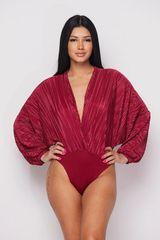 Crinkle Fabric V-Plunge Bodysuit