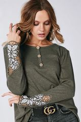 Olive Hensley Top with Floral Crochet Sleeves