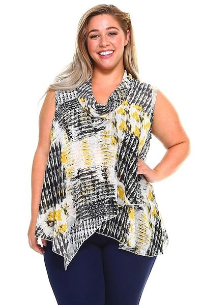 Abstract Print Sleeveless Scarf Blouse