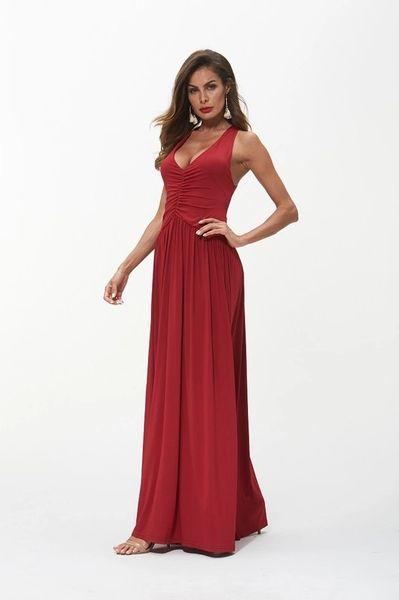Crimson Ruched Front V-Neck Gown