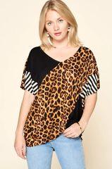 Leopard Striped Hi-Lo Top