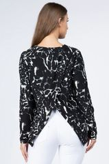 Black and White Abstract Back Split Top