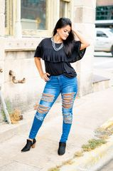 Skinny Distressed Leopard Jeans