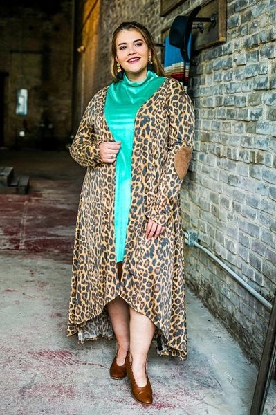 Curvy Leopard Duster with Elbow Patches
