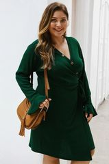 Button Front Ribbed Wrap Dress