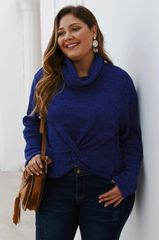 Denim Blue Knotted Turtleneck
