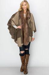 Fur Block Pattern Poncho