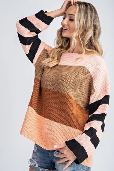 Bold Blush Stripe Sweater