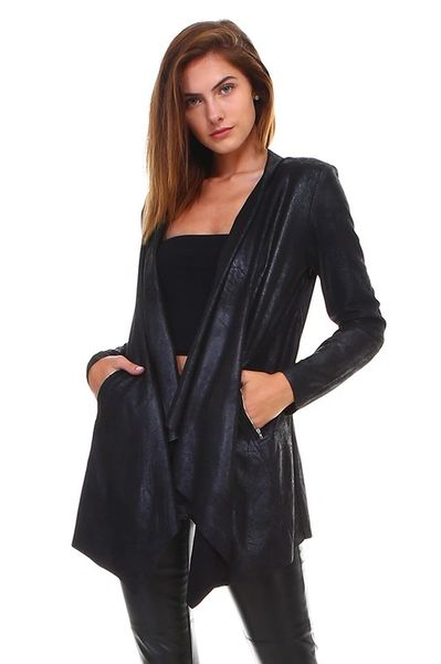 Black Distressed Leather Shawl Jacket