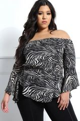 Zebra Off-Shoulder Blouse