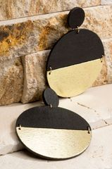 Black Wooden Split Disc Earrings