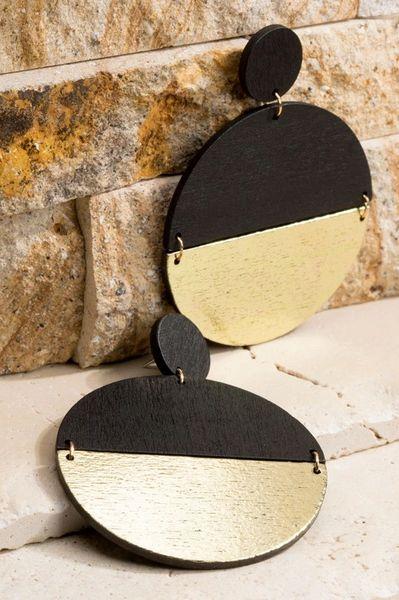 Black Wooden Split Disc Earrings
