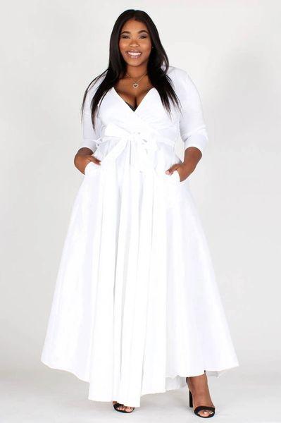 White Taffeta Faux Wrap Maxi Dress