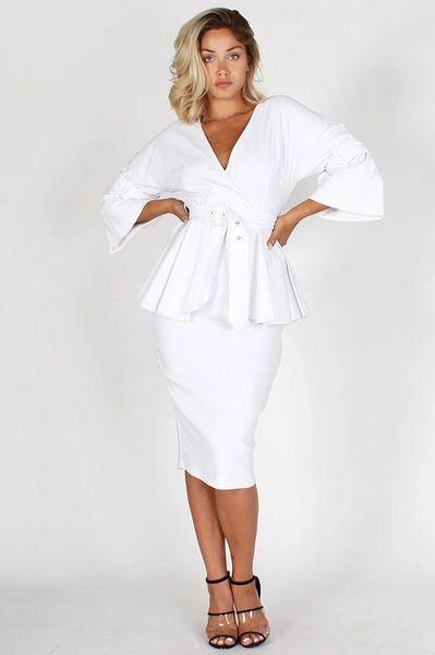White Mermaid Peplum Dress