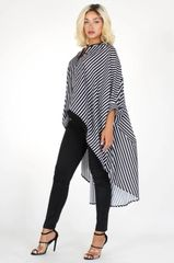 Black & White Stripe Hi-Lo Top