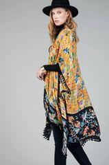 Yellow Palmette Print Kimono