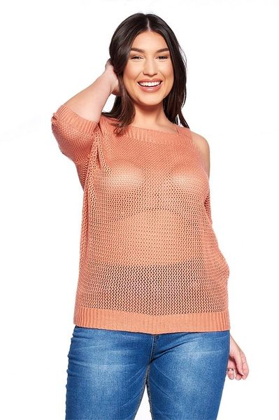 Curvy Cold Shoulder Netted Top