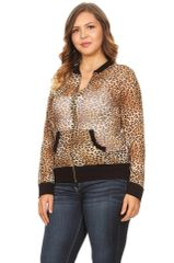 Curvy Sheer Fitted Leopard Jacket
