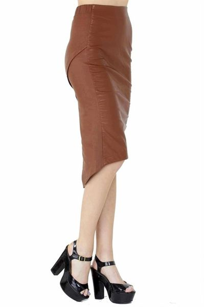 Caramel Mixed Media Pleated Back Midi Pencil Skirt