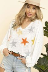 Ivory Star Bubble Sleeve Top