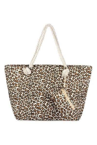 Tan Leopard Rope Tote