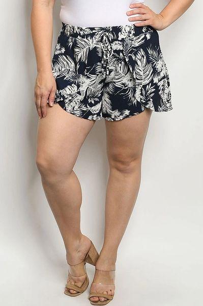 Curvy Floral Tulip Hem Shorts
